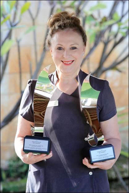 Spa Manager & Owner Everlyn Zaccagnini  with the World Luxury Spa awards